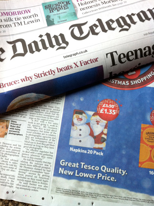 Christmas napkin design in the Daily Telegraph